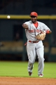 Sep 17, 2013; Houston, TX, USA; Cincinnati Reds second baseman Brandon Phillips (4) throws out a runner against the Houston Astros during the third inning at Minute Maid Park. Mandatory Credit: Thomas Campbell-USA TODAY Sports