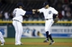 Sep 17, 2013; Detroit, MI, USA; Detroit Tigers first baseman Prince Fielder (28) and second baseman Omar Infante (4) celebrate after the game against the Seattle Mariners at Comerica Park. Detroit won 6-2. Mandatory Credit: Rick Osentoski-USA TODAY Sports