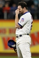 Sep 17, 2013; New York, NY, USA; New York Mets second baseman Daniel Murphy (28) reacts during the seventh inning of a game against the San Francisco Giants at Citi Field. Mandatory Credit: Brad Penner-USA TODAY Sports
