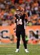 Sep 16, 2013; Cincinnati, OH, USA; Cincinnati Bengals quarterback Andy Dalton (14) against the Pittsburgh Steelers at Paul Brown Stadium. Mandatory Credit: Andrew Weber-USA TODAY Sports
