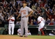 Sep 18, 2013; Boston, MA, USA; Boston Red Sox first baseman Mike Napoli (12) rounds the bases after hitting a home run against the Baltimore Orioles in the sixth inning at Fenway Park. Mandatory Credit: David Butler II-USA TODAY Sports