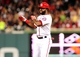 Sep 18, 2013; Washington, DC, USA; Washington Nationals outfielder Denard Span (2) reacts after getting a base hit in the seventh inning against the Atlanta Braves at Nationals Park. Mandatory Credit: Evan Habeeb-USA TODAY Sports