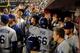 Sep 18, 2013; Phoenix, AZ, USA; Los Angeles Dodgers right fielder Yasiel Puig (66) celebrates with teammates after hitting a solo home run during the fourth inning against the Arizona Diamondbacks at Chase Field. Mandatory Credit: Matt Kartozian-USA TODAY Sports