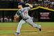 Sep 18, 2013; Phoenix, AZ, USA; Los Angeles Dodgers relief pitcher Paco Rodriguez (75) throws during the sixth inning against the Arizona Diamondbacks at Chase Field. Mandatory Credit: Matt Kartozian-USA TODAY Sports