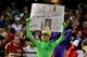 Sep 18, 2013; Phoenix, AZ, USA; An Arizona Diamondbacks fan holds a sign during the sixth inning against the Los Angeles Dodgers at Chase Field. Mandatory Credit: Matt Kartozian-USA TODAY Sports