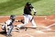 Sep 19, 2013; Pittsburgh, PA, USA; Pittsburgh Pirates right fielder Jose Tabata (31) hits a two run double against the San Diego Padres during the fourth inning at PNC Park. Mandatory Credit: Charles LeClaire-USA TODAY Sports