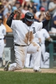 Sep 18, 2013; Detroit, MI, USA; Detroit Tigers first baseman Prince Fielder (28) celebrates after he scores on an RBI double hit by catcher Victor Martinez (not pictured) in the seventh inning against the Seattle Mariners at Comerica Park. Mandatory Credit: Rick Osentoski-USA TODAY Sports
