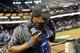 Sep 19, 2013; Phoenix, AZ, USA; Los Angeles Dodgers shortstop Hanley Ramirez (13) reacts to getting soaked with gatorade by center fielder Matt Kemp (27) after beating the Arizona Diamondbacks 7-6 at Chase Field. Mandatory Credit: Matt Kartozian-USA TODAY Sports