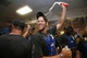Sep 19, 2013; Phoenix, AZ, USA; Los Angeles Dodgers pitcher Clayton Kershaw celebrates in the clubhouse after defeating the Arizona Diamondbacks 7-6 to clinch the NL West title at Chase Field. Mandatory Credit: Rob Schumacher/The Arizona Republic-USA TODAY Sports