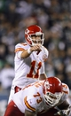 Sep 19, 2013; Philadelphia, PA, USA; Kansas City Chiefs quarterback Alex Smith (11) during the fourth quarter against the Philadelphia Eagles at Lincoln Financial Field. The Chiefs defeated the Eagles 26-16. Mandatory Credit: Howard Smith-USA TODAY Sports