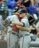 Sep 20, 2013; Chicago, IL, USA; Atlanta Braves pitcher Craig Kimbrel hugs catcher catcher Brian McCann after the game against the Chicago Cubs at Wrigley Field. Mandatory Credit: Matt Marton-USA TODAY Sports