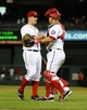 Sep 20, 2013; Washington, DC, USA; Washington Nationals starting pitcher Jordan Zimmermann (27) is congratulated by Washington Nationals catcher Wilson Ramos (40) after recording the final out against the Miami Marlins at Nationals Park. Mandatory Credit: Brad Mills-USA TODAY Sports