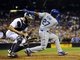 Sep 20, 2013; San Diego, CA, USA; Los Angeles Dodgers center fielder Matt Kemp (27) strikes out with the go ahead runs on base during the ninth inning against the San Diego Padres at Petco Park. The Padres won 2-0. Mandatory Credit: Christopher Hanewinckel-USA TODAY Sports