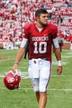 Sep 14, 2013; Norman, OK, USA; Oklahoma Sooners quarterback Blake Bell (10) reacts after the victory against the Tulsa Golden Hurricane at Gaylord Family - Oklahoma Memorial Stadium. Oklahoma won 51-20. Mandatory Credit: Kevin Jairaj-USA TODAY Sports
