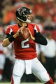 Sep 15, 2013; Atlanta, GA, USA; Atlanta Falcons quarterback Matt Ryan (2) drops back to pass in the game against the St. Louis Rams at the Georgia Dome. The Falcons won 31-24. Mandatory Credit: Daniel Shirey-USA TODAY Sports