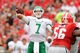 Sep 21, 2013; Athens, GA, USA; North Texas Mean Green quarterback Derek Thompson (7) throws a touchdown pass against the Georgia Bulldogs during the second quarter at Sanford Stadium. Mandatory Credit: Dale Zanine-USA TODAY Sports