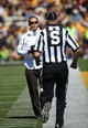 Sep 21, 2013; Iowa City, IA, USA; Western Michigan Broncos Head Coach P.J. Fleck walks the sidelines during their game against the Iowa Hawkeyes at Kinnick Stadium. Mandatory Credit: Reese Strickland-USA TODAY Sports