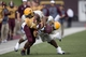 Sep 21, 2013; Mount Pleasant, MI, USA; Central Michigan Chippewas wide receiver Courtney Williams (85) gets tackled by the Toledo Rockets during the third quarter at Kelly/Shorts Stadium. Rockets beat the Chippewas 38-17. Mandatory Credit: Raj Mehta-USA TODAY Sports