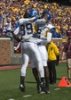 Sep 21, 2013; Minneapolis, MN, USA; San Jose State Spartans wide receiver Chandler Jones (89) celebrates with San Jose State Spartans wide receiver Tim Crawley (2) after scoring a touchdown in the second half agains the Minnesota Golden Gophers at TCF Bank Stadium. The Gophers won 43-24. Mandatory Credit: Jesse Johnson-USA TODAY Sports