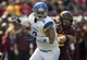 Sep 21, 2013; Minneapolis, MN, USA; San Jose State Spartans defensive tackle Travis Raciti (3) looks towards the ball carrier during a play in the second half against the Minnesota Golden Gophers at TCF Bank Stadium. The Gophers won 43-24. Mandatory Credit: Jesse Johnson-USA TODAY Sports