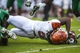Sep 21, 2013; Blacksburg, VA, USA;  Virginia Tech Hokies wide receiver Joshua Stanford (5) reaches for the end zone against the Marshall Thundering Herd during the second half at Lane Stadium. Mandatory Credit: Peter Casey-USA TODAY Sports