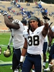 Sep 21, 2013; Durham, NC, USA; Pitt Panthers defensive back Ryan Lewis (38) holds up the number one sign to fans after defeating the Duke Blue Devils   at Wallace Wade Stadium. Pitt won 58-55.  Mandatory Credit: Rob Kinnan-USA TODAY Sports