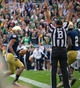 Sep 21, 2013; South Bend, IN, USA; Notre Dame Fighting Irish wide receiver TJ Jones (7) celebrates after a touchdown catch in the second quarter against the Michigan State Spartans at Notre Dame Stadium. Mandatory Credit: Matt Cashore-USA TODAY Sports