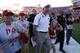 Sep 21, 2013; Lincoln, NE, USA; Nebraska Cornhuskers head coach Bo Pelini leaves the field after the game against the South Dakota State Jackrabbits at Memorial Stadium. Nebraska won 59-20. Mandatory Credit: Bruce Thorson-USA TODAY Sports