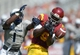 Sep 21, 2013; Los Angeles, CA, USA; Southern California Trojans receiver Marqise Lee (9) is defended by Utah State Aggies cornerback Daniel Gray (1) at the Los Angeles Memorial Coliseum. USC defeated Utah State 17-14. Mandatory Credit: Kirby Lee-USA TODAY Sports