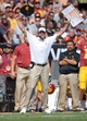 Sep 21, 2013; Los Angeles, CA, USA; Southern California Trojans coach Lane Kiffin reacts during the game against the Utah State Aggies at the Los Angeles Memorial Coliseum. USC defeated Utah State 17-14. Mandatory Credit: Kirby Lee-USA TODAY Sports