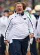 Sep 21, 2013; South Bend, IN, USA; Notre Dame Fighting Irish head coach Brian Kelly yells on the sideline in the third quarter against the Michigan State Spartans at Notre Dame Stadium. Notre Dame won 17-13. Mandatory Credit: Matt Cashore-USA TODAY Sports