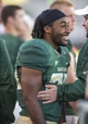 Sep 21, 2013; Waco, TX, USA; Baylor Bears running back Lache Seastrunk (25) watches the game from the sidelines during the second half against the Louisiana Monroe Warhawks at Floyd Casey Stadium. The Bears defeated the Warhawks 70-7. Mandatory Credit: Jerome Miron-USA TODAY Sports