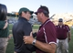 Sep 21, 2013; Waco, TX, USA; Louisiana Monroe Warhawks head coach Todd Berry (right) congratulates Baylor Bears head coach Art Briles after the game at Floyd Casey Stadium. The Bears defeated the Warhawks 70-7. Mandatory Credit: Jerome Miron-USA TODAY Sports