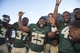 Sep 21, 2013; Waco, TX, USA; Baylor Bears Josh Benenoch (37) and running back Lache Seastrunk (25) and linebacker Travon Blanchard (48) celebrate the win over the Louisiana Monroe Warhawks at Floyd Casey Stadium. The Bears defeated the Warhawks 70-7. Mandatory Credit: Jerome Miron-USA TODAY Sports