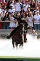 Sep 21, 2013; Lubbock, TX, USA;  Texas Tech Red Raiders mascot rides onto the field before the game with the Texas State Bobcats at Jones AT&T Stadium. Mandatory Credit: Michael C. Johnson-USA TODAY Sports