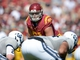 Sep 21, 2013; Los Angeles, CA, USA; Southern California Trojans linebacker Morgan Breslin (91) during the game against the Utah State Aggies at the Los Angeles Memorial Coliseum. USC defeated Utah State 17-14. Mandatory Credit: Kirby Lee-USA TODAY Sports