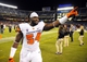 Sep 21, 2013; San Diego, CA, USA; Oregon State defensive tackle Brandon Bennett-Jackson (54) celebrates after a 34-30 win against the San Diego State Aztecs at Qualcomm Stadium. Mandatory Credit: Christopher Hanewinckel-USA TODAY Sports