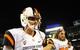 Sep 21, 2013; San Diego, CA, USA; Oregon State Beavers quarterback Sean Mannion (4) celebrates after a 34-30 win against the San Diego State Aztecs at Qualcomm Stadium. Mandatory Credit: Christopher Hanewinckel-USA TODAY Sports