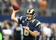 Sep 22, 2013; Arlington, TX, USA; St. Louis Rams quarterback Sam Bradford (8) throws prior to the game against the Dallas Cowboys at AT&T Stadium. Mandatory Credit: Matthew Emmons-USA TODAY Sports