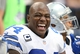 Sep 22, 2013; Arlington, TX, USA; Dallas Cowboys defensive end DeMarcus Ware (94) smiles while on the bench in the third quarter against the St. louis Rams at AT&T Stadium. DeMarcus Ware recorded his 115th career sack, breaking the Cowboys franchise record. Mandatory Credit: Matthew Emmons-USA TODAY Sports