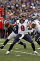 Sep 22, 2013; Baltimore, MD, USA; Houston Texans quarterback Matt Schaub (8) throws a pass under pressure from the Baltimore Ravens at M&T Bank Stadium. Mandatory Credit: Mitch Stringer-USA TODAY Sports