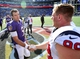 Sep 22, 2013; Baltimore, MD, USA; Baltimore Ravens quarterback Joe Flacco (5) shakes hands with Houston Texans defensive end J.J. Watt (99) after the game at M&T Bank Stadium. Mandatory Credit: Evan Habeeb-USA TODAY Sports