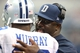 Sep 22, 2013; Arlington, TX, USA; Dallas Cowboys running backs coach Gary Brown talks with running back DeMarco Murray (29) during a timeout from the game against the St. Louis Rams at AT&T Stadium. Mandatory Credit: Matthew Emmons-USA TODAY Sports