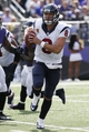 Sep 22, 2013; Baltimore, MD, USA; Houston Texans quarterback Matt Schaub (8) runs to escape pressure from the Baltimore Ravens at M&T Bank Stadium. Mandatory Credit: Mitch Stringer-USA TODAY Sports