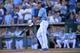 Sep 22, 2013; Kansas City, MO, USA; Kansas City Royals right fielder Justin Maxwell (27) hits a walk off grand slam against the Texas Rangers during the 10th inning at Kauffman Stadium. The Royals beat the Rangers 4-0. Mandatory Credit: Peter G. Aiken-USA TODAY Sports