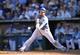 Sep 22, 2013; Kansas City, MO, USA; Kansas City Royals Eric Hosmer (35) doubles against the Texas Rangers during the 10th inning at Kauffman Stadium. The Royals beat the Rangers 4-0. Mandatory Credit: Peter G. Aiken-USA TODAY Sports