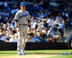 Sep 22, 2013; San Diego, CA, USA; Los Angeles Dodgers third baseman Michael Young (10) leads off of third base after an RBI triple during the seventh inning against the San Diego Padres at Petco Park. Mandatory Credit: Christopher Hanewinckel-USA TODAY Sports