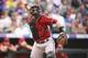 Sep 22, 2013; Denver, CO, USA; Arizona Diamondback catcher Miguel Montero (26) during the third inning against the Arizona Diamondbacks at Coors Field. Mandatory Credit: Chris Humphreys-USA TODAY Sports