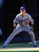 Sep 22, 2013; San Diego, CA, USA; Los Angeles Dodgers infielder Michael Young (10) at third base during the ninth inning against the San Diego Padres at Petco Park. Mandatory Credit: Christopher Hanewinckel-USA TODAY Sports