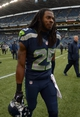 Sep 22, 2013; Seattle, WA, USA; Seattle Seahawks cornerback Richard Sherman (25) walks off the field after the game against the Jacksonville Jaguars at CenturyLink Field. The Seahawks defeated the Jaguars 45-17. Mandatory Credit: Kirby Lee-USA TODAY Sports